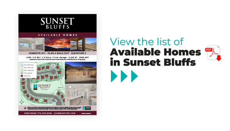Sunset Bluffs available homes brochure